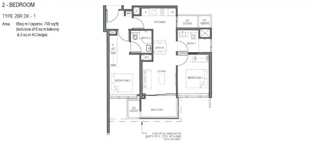 parc-clematis-floor-plan-2-bedroom-type-dk-1